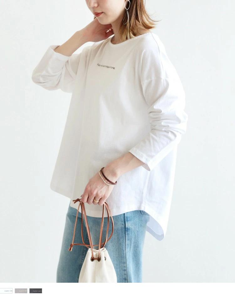 裾ラウンドロゴプリントTシャツ
